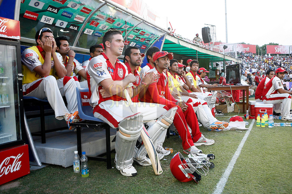 Kings XI Punjab team sits during match 9 of the Indian Premier League ( IPL ) Season 4 between the Kings XI Punjab and the Chennai Super Kings held at the PCA stadium in Mohali, Chandigarh, India on the 13th April 2011..Photo by Money Sharma/BCCI/SPORTZPICS
