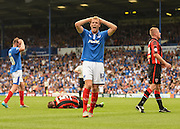 Portsmouth's Jayden Stockley sees another chance go by during the Sky Bet League 2 match between Portsmouth and Morecambe at Fratton Park, Portsmouth, England on 22 August 2015. Photo by David Charbit.