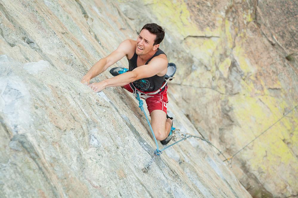 Evan Waugh Climbing Air Test, 5.13a at Skaha Bluffs in Penticton, BC
