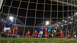 Bonucci scores during the UEFA EURO 2010 Group C qualifying match between Italy and Serbia was suspended at Luigi Ferraris Stadium on October 12, 2010 in Genoa, Italy.
