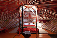 Mongolia. inside GER, Three camels camp, yurt camp for tourists  in the Gobi desert in winter  Bayanzag -   /  interieur de yourte . camp des trois chameaux. camp de yourte pour touristes desert de Gobi en hiver  Bayan zag - Mongolie /  L0055857B