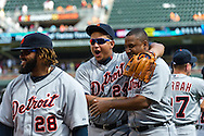Detroit Tigers Prince Fielder (28), Miguel Cabrera (24), and Delmon Young (21) of the Detroit Tigers celebrate after the Tigers defeated the Minnesota Twins on August 15, 2012 at Target Field in Minneapolis, Minnesota.  The Tigers defeated the Twins 5 to 1.  Photo: Ben Krause