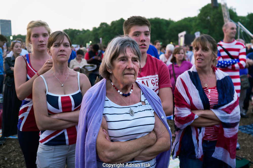 British Olympic fans in Hyde Park, Central London