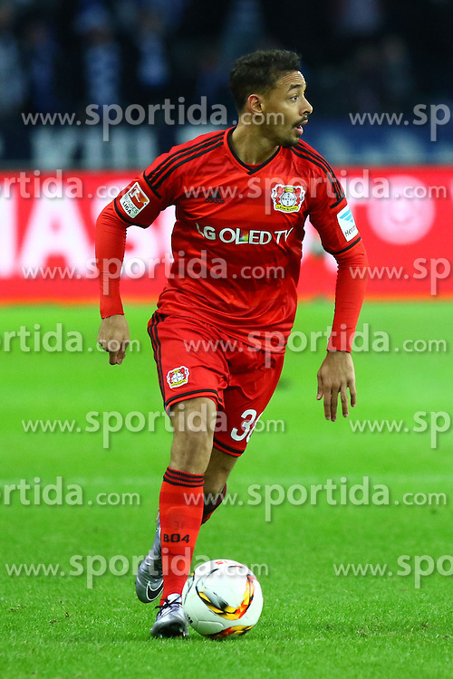 05.12.2015, Olympiastadion, Berlin, GER, 1. FBL, Hertha BSC vs Bayer 04 Leverkusen, 15. Runde, im Bild Karim Bellarabi (#38, Bayer 04 Leverkusen) // during the German Bundesliga 15th round match between Hertha BSC and Bayer 04 Leverkusen at the Olympiastadion in Berlin, Germany on 2015/12/05. EXPA Pictures &copy; 2015, PhotoCredit: EXPA/ Eibner-Pressefoto/ Hundt<br /> <br /> *****ATTENTION - OUT of GER*****