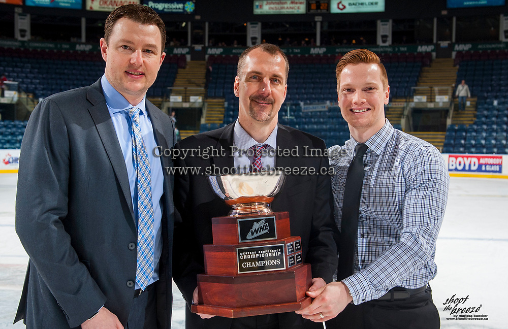 KELOWNA, CANADA - APRIL 30: Seattle Thunderbirds' coaches Matt O'Dette, Steve Konowalchuk and Tyler Alos hold the Western Conference Championship cup after winning game 6 ending the series with a 4-2 series win against the Kelowna Rockets on April 30, 2017 at Prospera Place in Kelowna, British Columbia, Canada.  (Photo by Marissa Baecker/Shoot the Breeze)  *** Local Caption ***