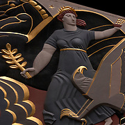 Art Deco Sculptural relief on facade Rockefeller Center building by Oscar Bach.