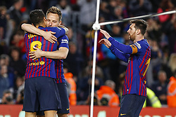 March 9, 2019 - Barcelona, Catalonia, Spain - FC Barcelona forward Luis Suarez (9) celebrates scoring the goal with FC Barcelona midfielder Ivan Rakitic (4) and FC Barcelona forward Lionel Messi (10) during the match FC Barcelona v Rayo Vallecano, for the round 27 of La Liga played at Camp Nou  on 9th March 2019 in Barcelona, Spain. (Credit Image: © Mikel Trigueros/NurPhoto via ZUMA Press)