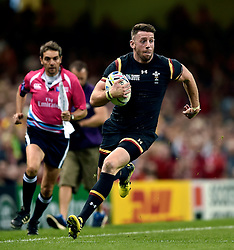 Alex Cuthbert of Wales goes on the attack - Mandatory byline: Patrick Khachfe/JMP - 07966 386802 - 01/10/2015 - RUGBY UNION - Millennium Stadium - Cardiff, Wales - Wales v Fiji - Rugby World Cup 2015 Pool A.