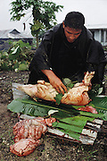 A relative of the Lagavale family, working in the rain outside the family's cooking shed, guts and dresses the pig that will be eaten by the Lagavale Family on White Sunday. White Sunday is celebrated on the second Sunday of October each year in Western Samoa. Traditionally on this holiday the children receive new clothes and gifts, and festive games are played. Most attend church services and then gather for huge family feasts that feature foods like pork, taro, and coconuts. Material World Project.