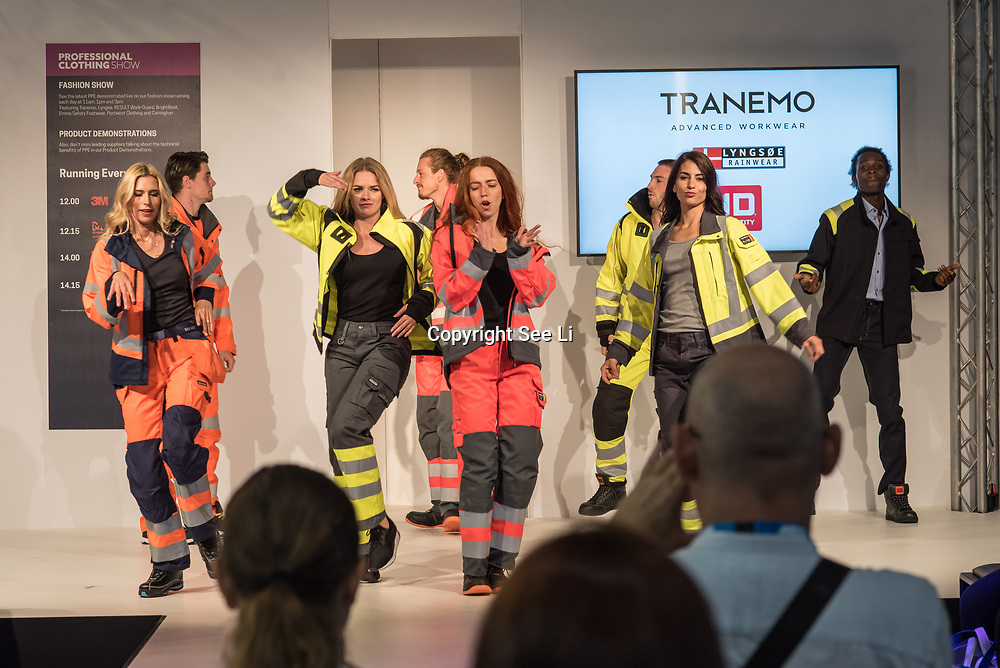 Tranemo Catwalk show at the Professional Clothing Show - Safety and Health Expo at Excel London, UK on June 19 2018.