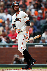 SAN FRANCISCO, CA - MAY 26: Brandon Belt #9 of the San Francisco Giants tosses his bat after drawing a walk against the Arizona Diamondbacks during the first inning at Oracle Park on May 26, 2019 in San Francisco, California. The Arizona Diamondbacks defeated the San Francisco Giants 6-2. (Photo by Jason O. Watson/Getty Images) *** Local Caption *** Brandon Belt