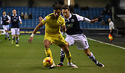 Lee Gregory jockies George Baldock during the Johnstone's Paint Trophy semi final first leg match between Millwall and Oxford United at The Den, London, England on 14 January 2016. Photo by Michael Hulf.