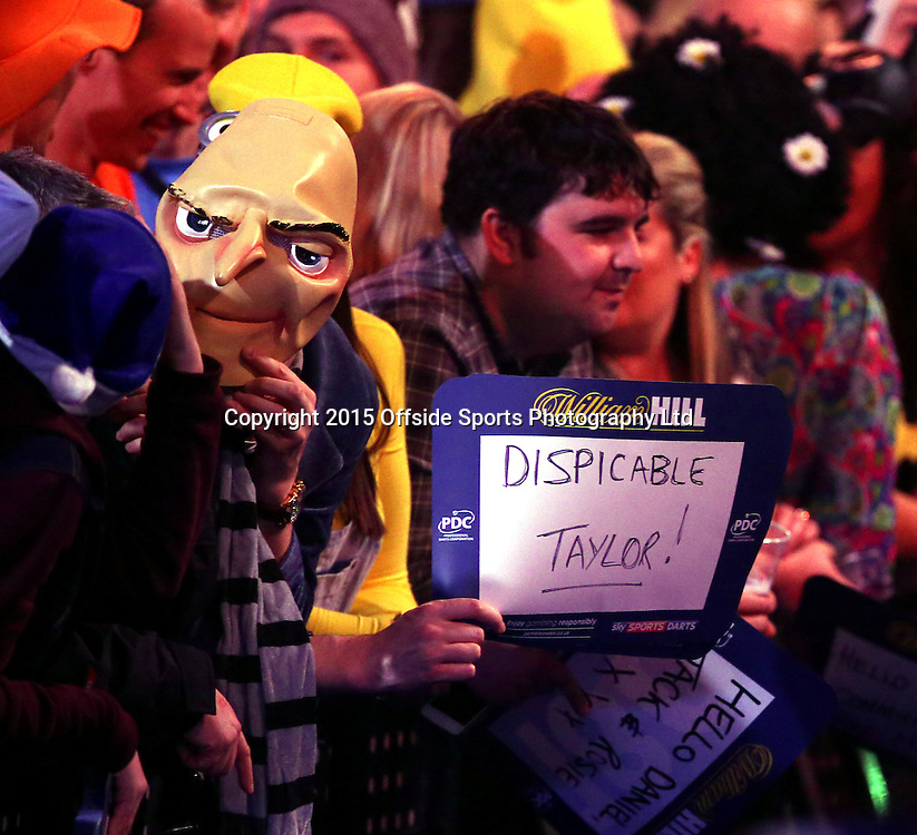 02 January 2015  PDC World Darts Championship London;  Definitely not a Taylor fan in the crowd.<br /> Photo: Mark Leech