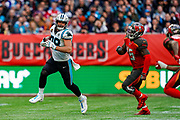 Carolina Panthers Tight End Greg Olsen (88) in action during the International Series match between Tampa Bay Buccaneers and Carolina Panthers at Tottenham Hotspur Stadium, London, United Kingdom on 13 October 2019.