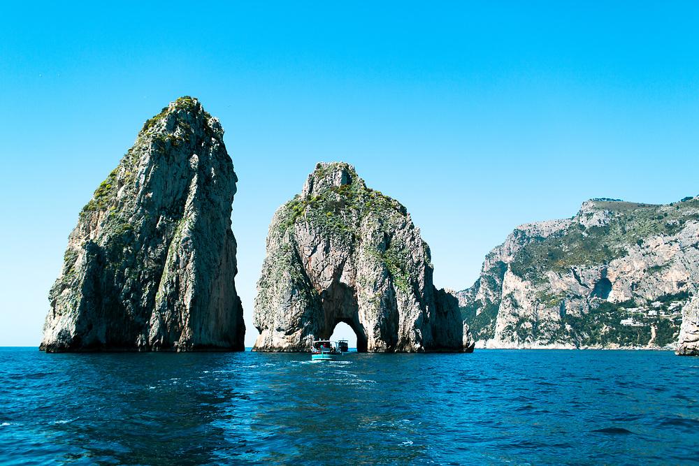 Yachts along boat ride to Capri, Italy