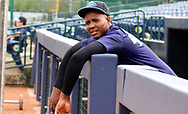 July 5, 2017 - Trenton, New Jersey, U.S - Pitcher DOMINGO ACEVEDO of the Trenton Thunder, in the dugout at ARM & HAMMER Park during a break a few hours before the game here tonight vs. the Fightin Phils. (Credit Image: © Staton Rabin via ZUMA Wire)