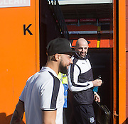 Dundee&rsquo;s Gary Harkins and Kane Hemmings walk down the road ahead of the derby - Dundee United v Dundee - Ladbrokes Premiership at Tannadice Park <br />  - &copy; David Young - www.davidyoungphoto.co.uk - email: davidyoungphoto@gmail.com
