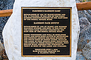 Plaque at Parchers Resort on the south fork of Bishop Creek, Inyo National Forest, Sierra Nevada Mountains, California