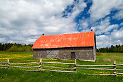 fence and barn<br />Grosses Roches<br />Quebec<br />Canada