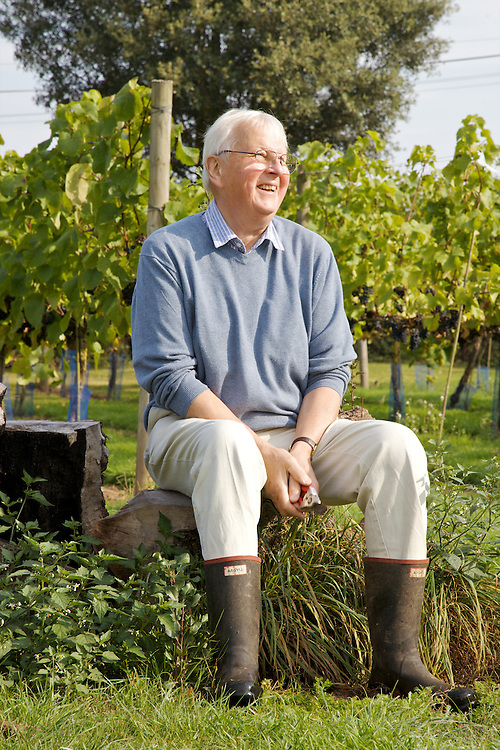 Will Gissane in the vineyard at his Herefordshire home. He sits on an old pear tree, turned seating area. <br /> CREDIT: Vanessa Berberian for The Wall Street Journal<br /> HOBBY-Gissane/UK