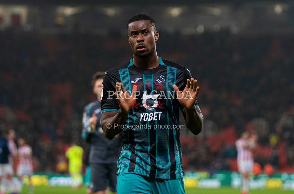 STOKE-ON-TRENT, ENGLAND - Saturday, January 25, 2020: Swansea City's Marc Guehi applauds the supporters after the Football League Championship match between Stoke City FC and Swansea City FC at the Britannia Stadium. Swansea City lost 1-0. (Pic by David Rawcliffe/Propaganda)