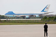 CAPE CANAVERAL, FL -  APRIL 15:  Air Force One taxis at the shuttle landing facility at Kennedy Space Center April 15, 2010 in Cape Canaveral. Obama was holding a summit to discuss the future of the space program. (Photo by Matt Stroshane/Getty Images)