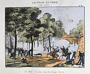 Paris Commune 26 March-28 May 1871. The Bloody Week:   Fighting in the Champs Elysees between Communades and regular Government troops, Versailles,  22 May 1871. Coloured lithograph.