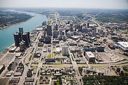 Looking Southwest over downtown Detroit and the Detroit River