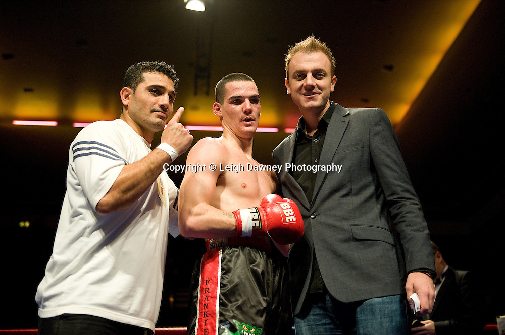 Bobby Gladman defeats Andrew Patterson at Watford Colusseum 29 November 2009 Promoter Mickey Helliet (right), Hellraiser Promotions: Credit: ©Leigh Dawney Photography