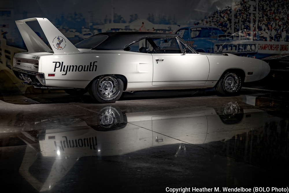 BOLO Photo<br /> Wild West Automotive Photography<br /> Vehicle Vault (2019)<br /> White Light<br /> May 3, 2019: Parker, Colorado<br /> (1970 Plymouth Road Runner Superbird: Vehicle Vault)