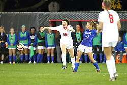 04 November 2016: Emily Dickman(10) & Maddie Schaak(24)  during an NCAA Missouri Valley Conference (MVC) Championship series women's semi-final soccer game between the Indiana State Sycamores and the Illinois State Redbirds on Adelaide Street Field in Normal IL