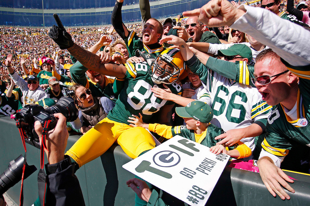 Green Bay Packers tight end Jermichael Finley celebrates a touchdown against the Detroit Lions during an NFL football game Sunday, Oct. 3, 2010, in Green Bay, Wis. (AP Photo/Matt Ludtke)
