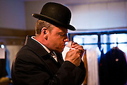 Suggs of Madness, back stage at the Hackney Empire in London during the launch of their new album 'Liberty of Norton Folgate'.
