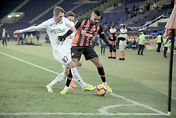 October 31, 2018 - Kharkiv, Ukraine - Midfielder Dentinho (R) of FC Shakhtar Donetsk and defender Yevhen Zubeiko of FC Olimpik Donetsk are seen in action during the Ukrainian Cup Round of 16 game at the Metalist Stadium Regional Sports Complex, Kharkiv, northeastern Ukraine, October 31, 2018. Ukrinform. (Credit Image: © Vyacheslav Madiyevskyy/Ukrinform via ZUMA Wire)