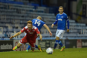 Crawley Town Defender, Josh Yorwerth (15) is fouled by Portsmouth Forward, Curtis Main (14) during the EFL Trophy match between Portsmouth and Crawley Town at Fratton Park, Portsmouth, England on 3 October 2017. Photo by Adam Rivers.