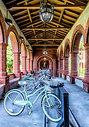Student bicycle parking at the courtyard entryway on the Flagler College campus in downtown St. Augustine, Florida,