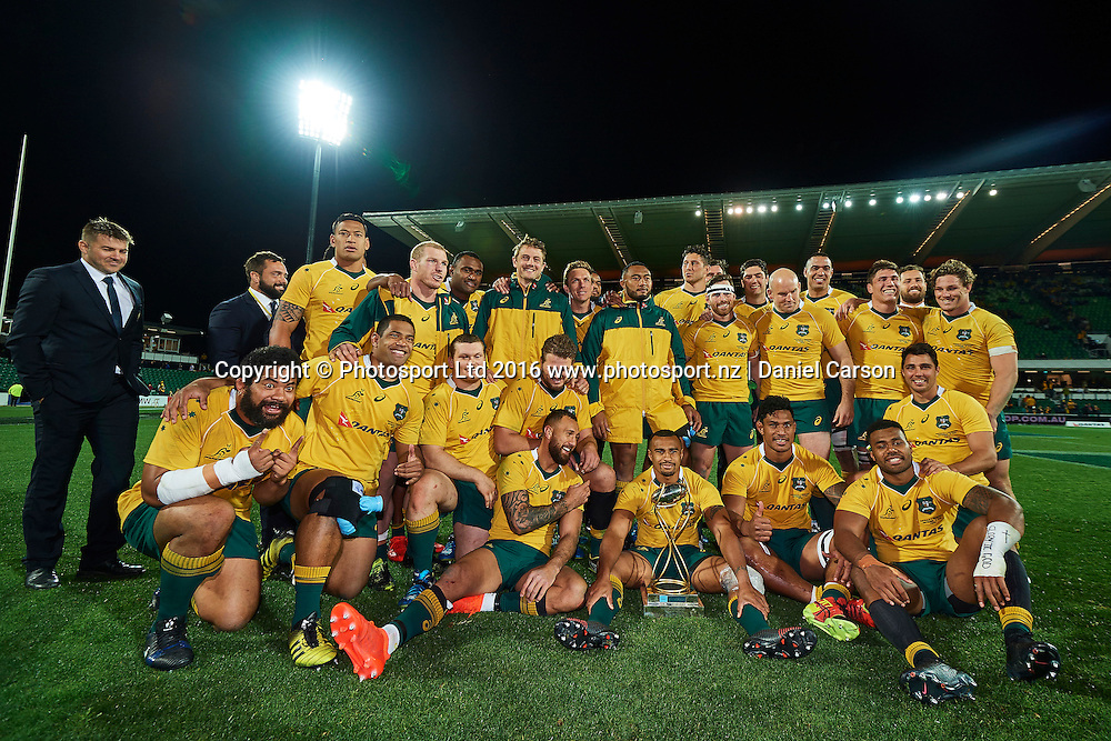 The Wallabies celebrate the win with the Puma Trophy during the Rugby Championship test match between the Australian Qantas Wallabies and Argentina's Los Pumas from NIB Stadium - Saturday 17th September 2016 in Perth, Australia. © Copyright Photo by Daniel Carson / www.photosport.nz)