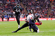 Houston Texans Wide Receiver DeAndre Hopkins (10)  tackled after a pass interception during the International Series match between Jacksonville Jaguars and Houston Texans at Wembley Stadium, London, England on 3 November 2019.