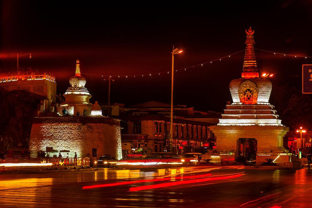 Stupas on Beijing Middle Road near the Potala Palace, Lhasa, Tibet, China.
