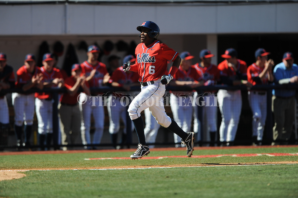 Ole Miss' Errol Robinson scores vs. Stetson at Oxford-University Stadium in Oxford, Miss. on Saturday, March 7, 2015. Ole Miss won 8-3 in game 1 of a doubleheader to improve to 7-5.
