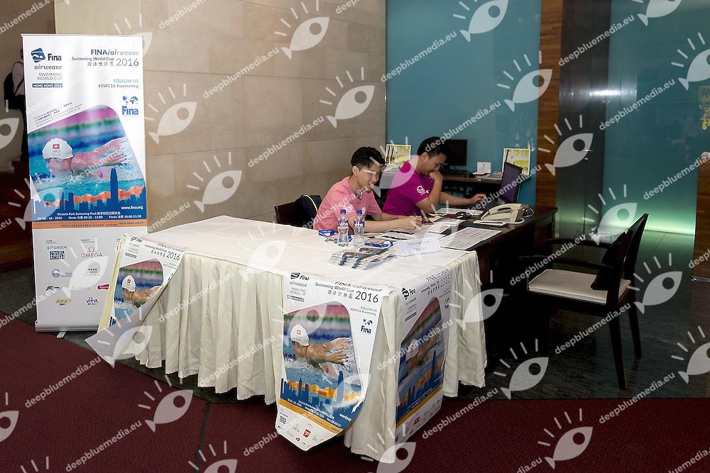 Lobby Desk<br /> FINA Airweave Short Course Swimming World Cup 2016 <br /> l'Hotel Hong Kong HKG<br /> Day 00 October 28 2016<br /> Photo G.Scala/Insidefoto/Deepbluemedia