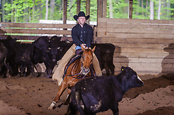 May 21, 2017 - Minshall Farm Cutting 4, held at Minshall Farms, Hillsburgh Ontario. The event was put on by the Ontario Cutting Horse Association. Riding in the 25,000 Novice Horse Non-Pro Class is John Martin on Ray Too Smart owned by the rider.