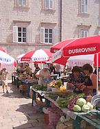 An outdoor market in the old harbour<br /> area of Dubrovnik, Croatia<br /> c. Ellen Rooney