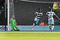 Football - 2016 /2017 Championship - Fulham vs Queens Park Rangers<br /> <br />  Idrissa Sylla of QPR celebrates scoring the winning goal with a diving header past David Button at Craven Cottage<br /> <br /> Credit : Colorsport / Andrew Cowie