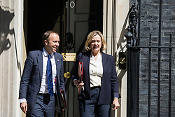 London, UK. 16 July, 2019. Matt Hancock MP, Secretary of State for Health and Social Care, and Amber Rudd MP, Secretary of State for Work and Pensions, leave 10 Downing Street following a Cabinet meeting.