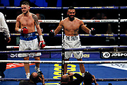 Anthony Tomlinson and Stewart Burt after their fight before the Kell Brook vs Mark DeLuca WBO Inter-Continental Super Welterweight fight at the FlyDSA Arena, Sheffield, United Kingdom on 8 February 2020.