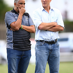 Francois Louis (President KwaZulu - Natal Rugby Union) of the Cell C Sharks with Gary Teichmann (Chief executive officer) of the Cell C Sharks General views during The Cell C Sharks XV and Griquas Warm up match at Growthpoint Kings Park in Durban, South Africa. 28 March 2017(Photo by Steve Haag)<br /> <br /> images for social media must have consent from Steve Haag