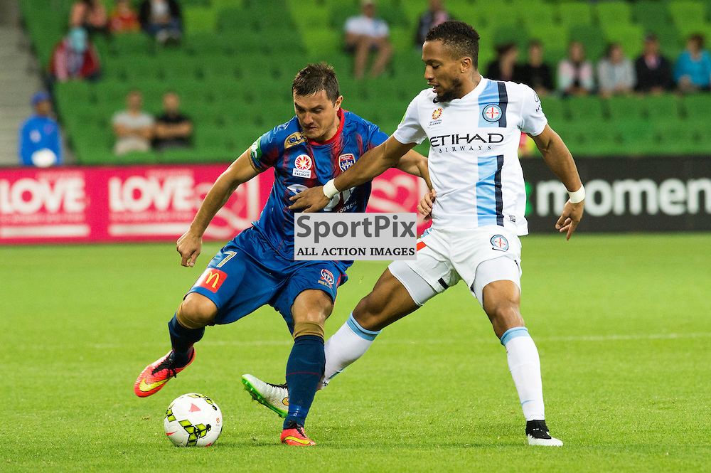 Enver Alivodic (Newcastle Jets) , Harry Novillo (Melbourne City) Hyundai A-League, 14th March 2015, RD 21- match between Melbourne City FC v Newcastle Jets at Aami Park, Melbourne Australia. © Mark Avellino | SportPix.org.uk Final score City 4:0 Newcastle