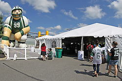 June 14, 2012; Florham Park, NJ, USA; Fans arrive at New York Jets FanFest before New York Jets Minicamp at the Atlantic Health Training Center.