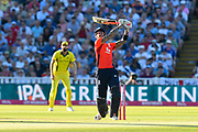 Alex Hales of England hits the ball over the boundary for six runs during the International T20 match between England and Australia at Edgbaston, Birmingham, United Kingdom on 27 June 2018. Picture by Graham Hunt.
